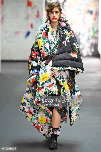 A model walks the runway at the Preen by Thornton Bregazzi Ready to Wear Fall Winter 20172018 fashion show during the London Fashion Week February...