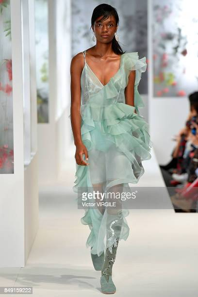 A model walks the runway at the Preen by Thornton Bregazzi Ready to Wear Spring/Summer 2018 fashion show during London Fashion Week September 2017 on...