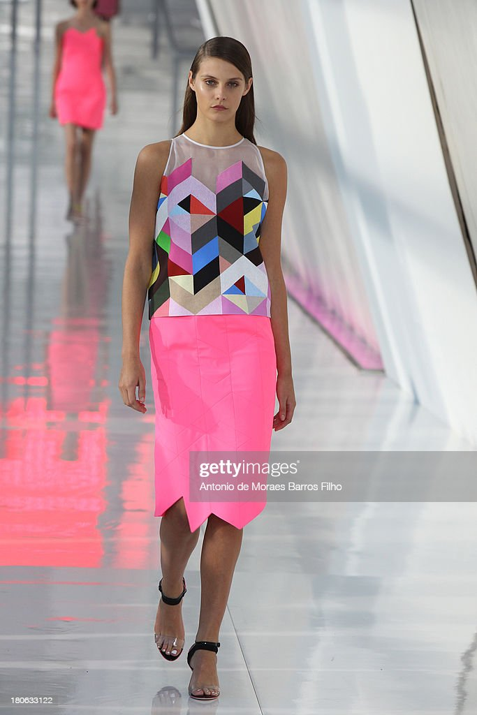 A model walks the runway at the Preen By Thornton Bregazzi show during London Fashion Week SS14 on September 15, 2013 in London, England.