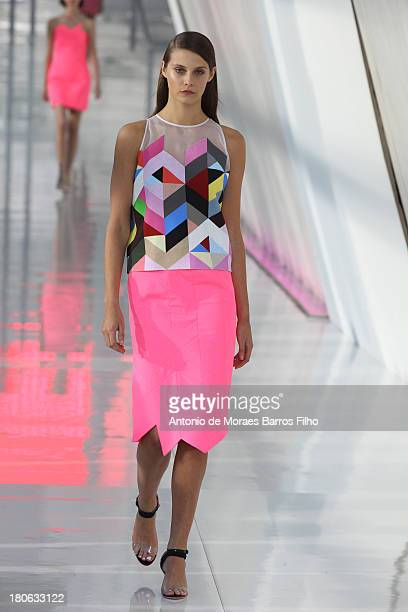 A model walks the runway at the Preen By Thornton Bregazzi show during London Fashion Week SS14 on September 15 2013 in London England