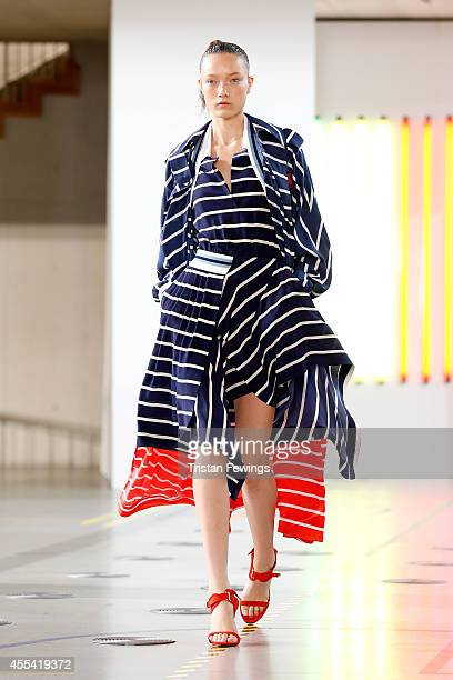 A model walks the runway at the Preen by Thornton Bregazzi show during London Fashion Week Spring Summer 2015 on September 14 2014 in London England