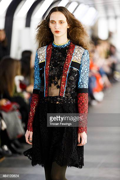 A model walks the runway at the Preen by Thornton Bregazzi show during London Fashion Week Fall/Winter 2015/16 at 1 Pancras Square on February 22...