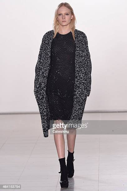 A model walks the runway at the Pringle of Scotland Autumn Winter 2015 fashion show during London Fashion Week on February 22 2015 in London United...