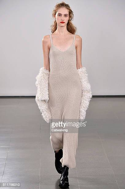 A model walks the runway at the Pringle of Scotland Autumn Winter 2016 fashion show during London Fashion Week on February 22 2016 in London United...