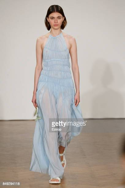 A model walks the runway at the Pringle of Scotland show during London Fashion Week September 2017 on September 18 2017 in London England