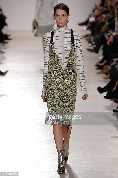 A model walks the runway at the Proenza Schouler Collection during Fall 2016 New York Fashion Week at the Whitney Museum of American Art on February...