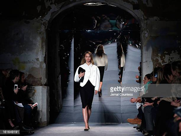 A model walks the runway at the Proenza Schouler fall 2013 fashion show during MercedesBenz Fashion Week on February 13 2013 in New York City