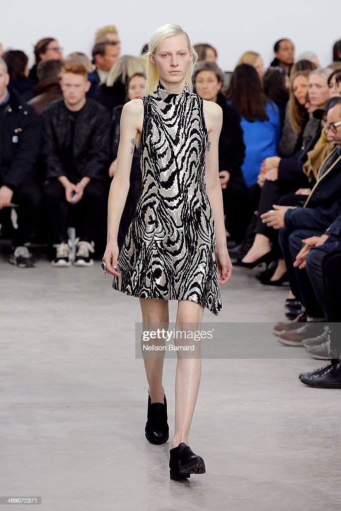 A model walks the runway at the Proenza Schouler fashion show during Mercedes-Benz Fashion Week Fall 2014 on February 12, 2014 in New York City.