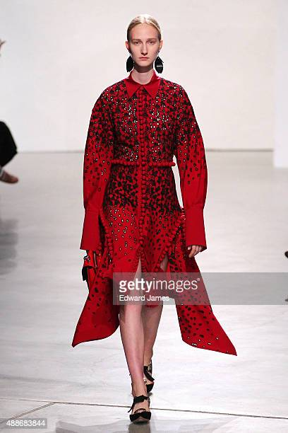 A model walks the runway at the Proenza Schouler show during Spring 2016 New York Fashion Week at 23 Wall Street on September 16 2015 in New York City