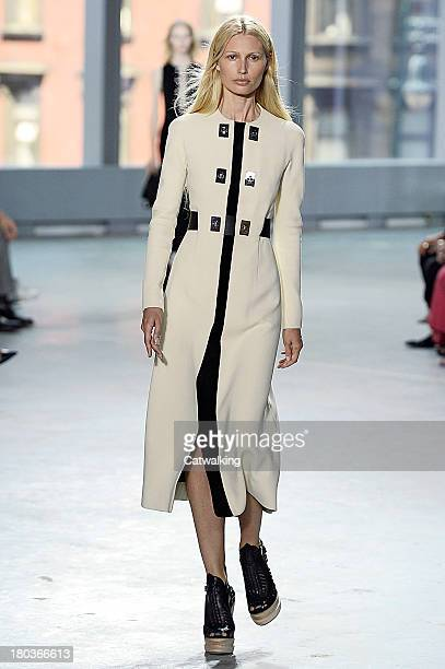 A model walks the runway at the Proenza Schouler Spring Summer 2014 fashion show during New York Fashion Week on September 11 2013 in New York United...