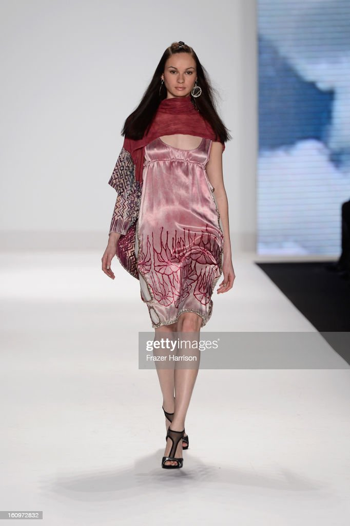 A model walks the runway at the Project Runway Fall 2013 fashion show during Mercedes-Benz Fashion Week at The Theatre at Lincoln Center on February 8, 2013 in New York City.