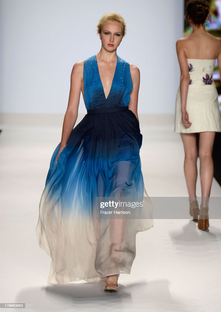 A model walks the runway at the Project Runway Spring 2014 fashion show during Mercedes-Benz Fashion Week at The Theatre at Lincoln Center on September 6, 2013 in New York City.