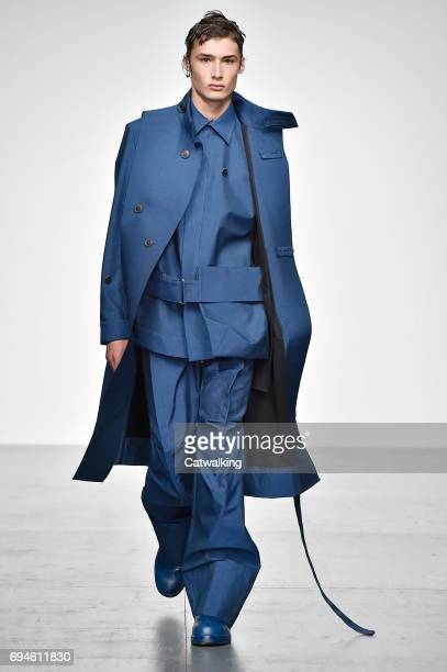A model walks the runway at the Pronounce presented by GQ China Show Spring Summer 2018 fashion show during London Menswear Fashion Week on June 10...