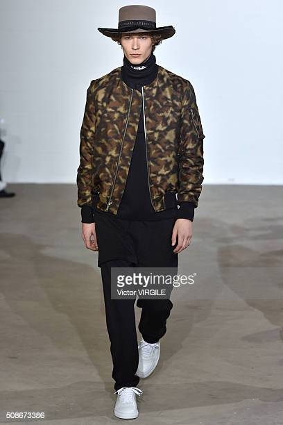 A model walks the runway at the Public School show during New York Fashion Week Men's Fall/Winter 2016 on February 2 2016 in New York City