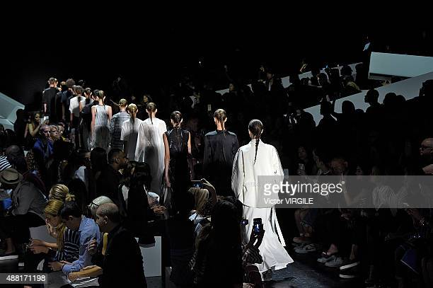 A model walks the runway at the Public School Spring Summer 2016 fashion show during the New York Fashion Week on September 13 2015 in New York City