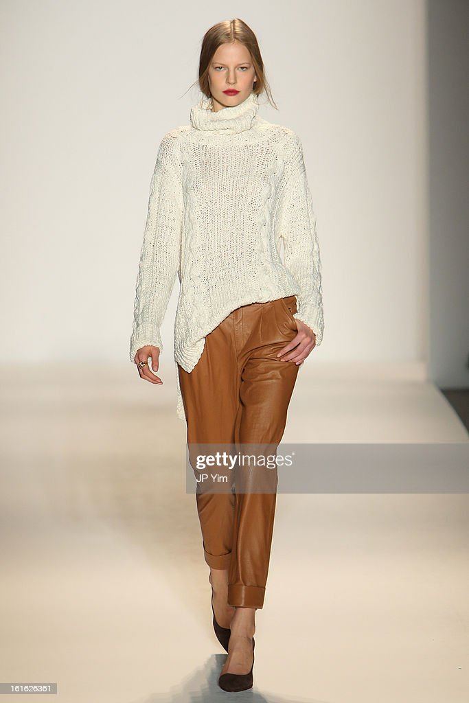 A model walks the runway at the Rachel Zoe Fall 2013 fashion show during Mercedes-Benz Fashion Week in The Studio at Lincoln Center on February 13, 2013 in New York City.