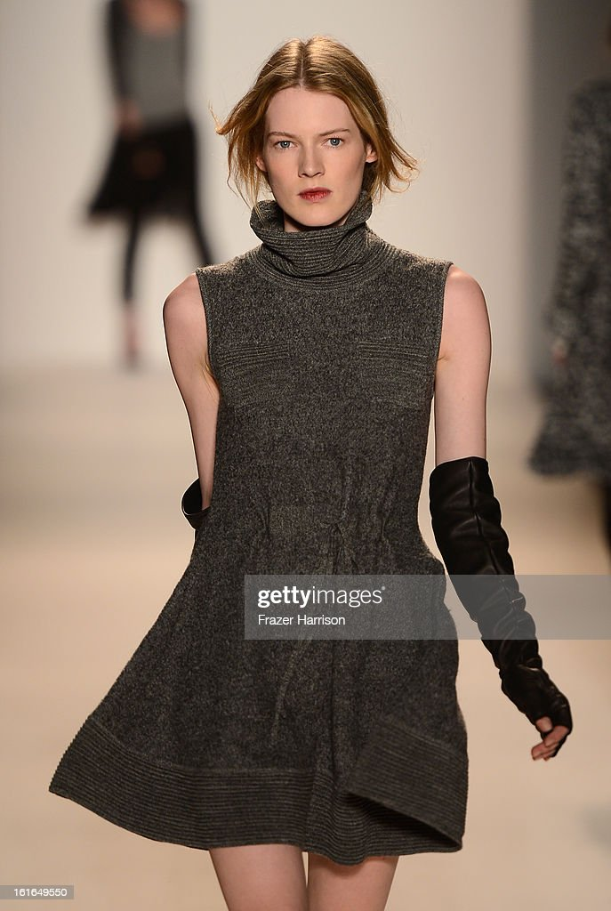 A model walks the runway at the Rachel Zoe Fall 2013 fashion show during Mercedes-Benz Fashion Week at The Studio at Lincoln Center on February 13, 2013 in New York City.