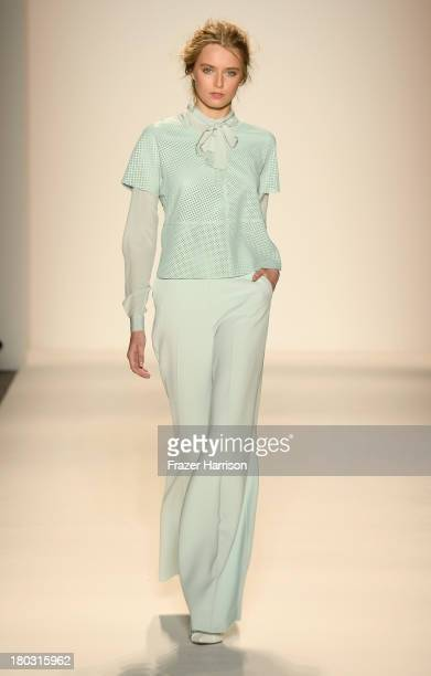 A model walks the runway at the Rachel Zoe fashion show during MercedesBenz Fashion Week Spring 2014 at The Studio at Lincoln Center on September 11...
