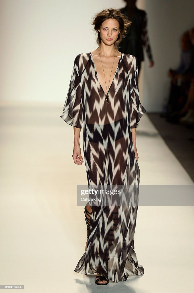 A model walks the runway at the Rachel Zoe Spring Summer 2014 fashion show during New York Fashion Week on September 11, 2013 in New York, United States.