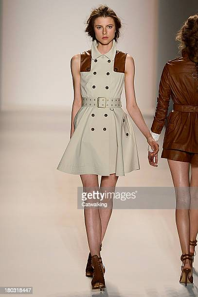 A model walks the runway at the Rachel Zoe Spring Summer 2014 fashion show during New York Fashion Week on September 11 2013 in New York United States