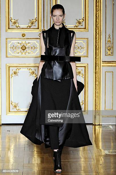 A model walks the runway at the Rad Hourani Spring Summer 2014 fashion show during Paris Haute Couture Fashion Week on January 22 2014 in Paris France