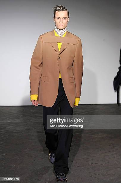 A model walks the runway at the Raf Simons Autumn Winter 2013 fashion show during Paris Menswear Fashion Week on January 16 2013 in Paris France