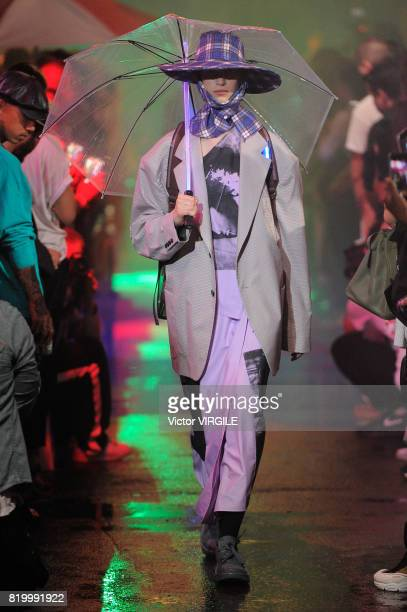 A model walks the runway at the Raf Simons shows during the NYFW Men's July 2017 Spring Summer 2018 on July 11 2017 in New York City