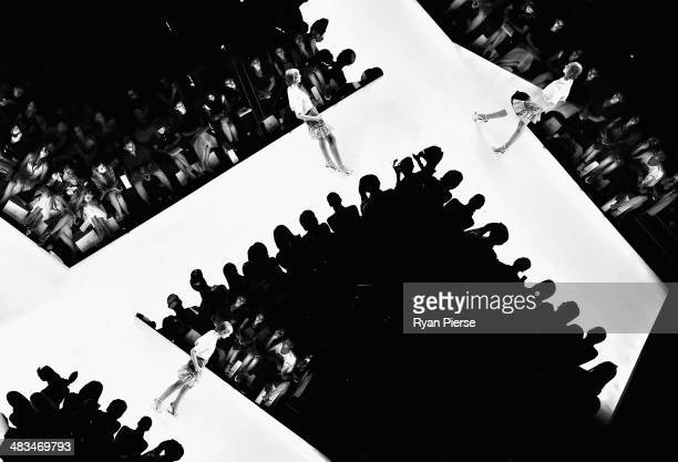 A model walks the runway at the Raffles show during MercedesBenz Fashion Week Australia 2014 at Carriageworks on April 9 2014 in Sydney Australia