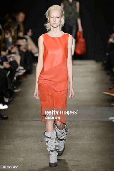 A model walks the runway at the Rag Bone Autumn Winter 2014 fashion show during New York Fashion Week on February 7 2014 in New York United States