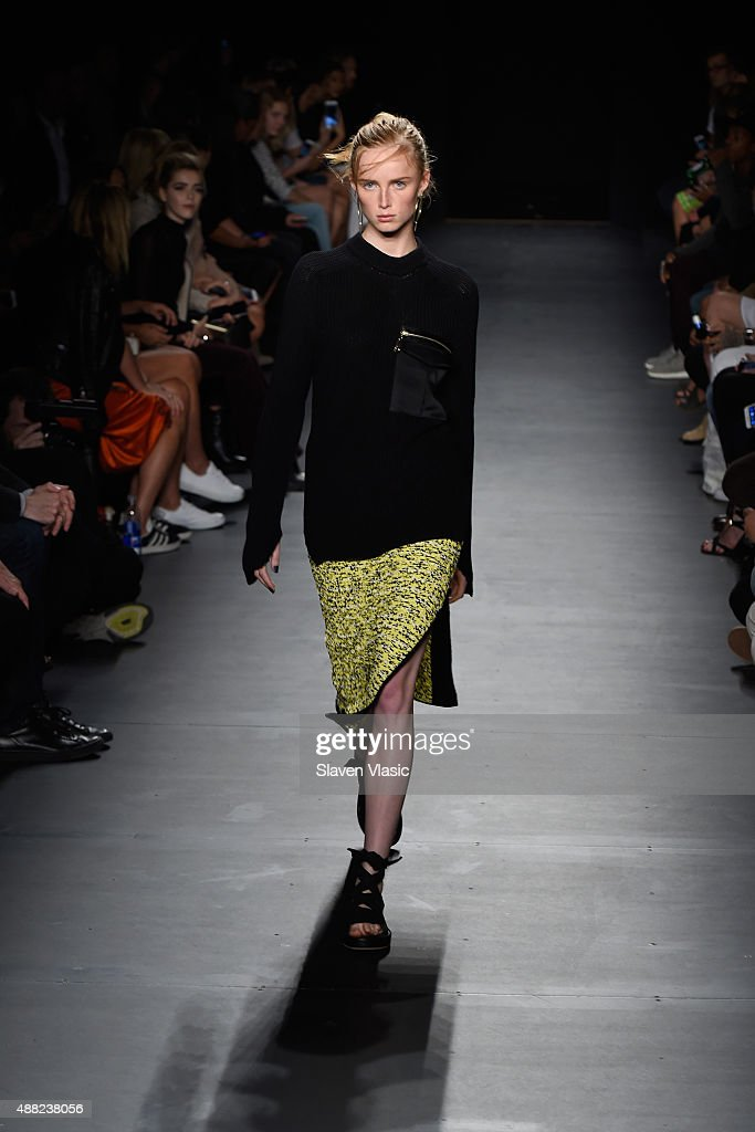 A model walks the runway at the rag bone Spring 2016 fashion show during New York Fashion Week at St Ann's Warehouse on September 14 2015 in New York...