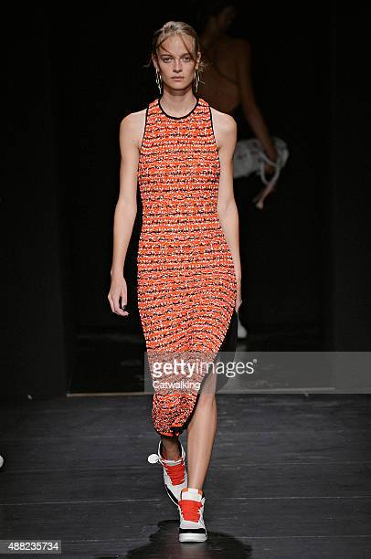 A model walks the runway at the Rag Bone Spring Summer 2016 fashion show during New York Fashion Week on September 14 2015 in New York United States