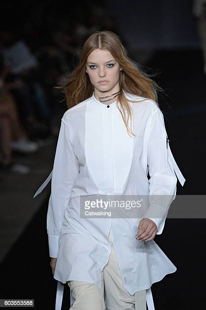 A model walks the runway at the Rag Bone Spring Summer 2017 fashion show during New York Fashion Week on September 12 2016 in New York United States
