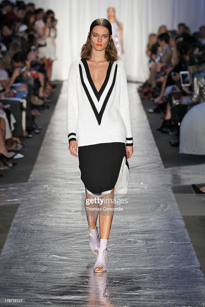 A model walks the runway at the Rag Bone Women's Collection show during Spring 2014 MercedesBenz Fashion Week at Skylight at Moynihan Station on...