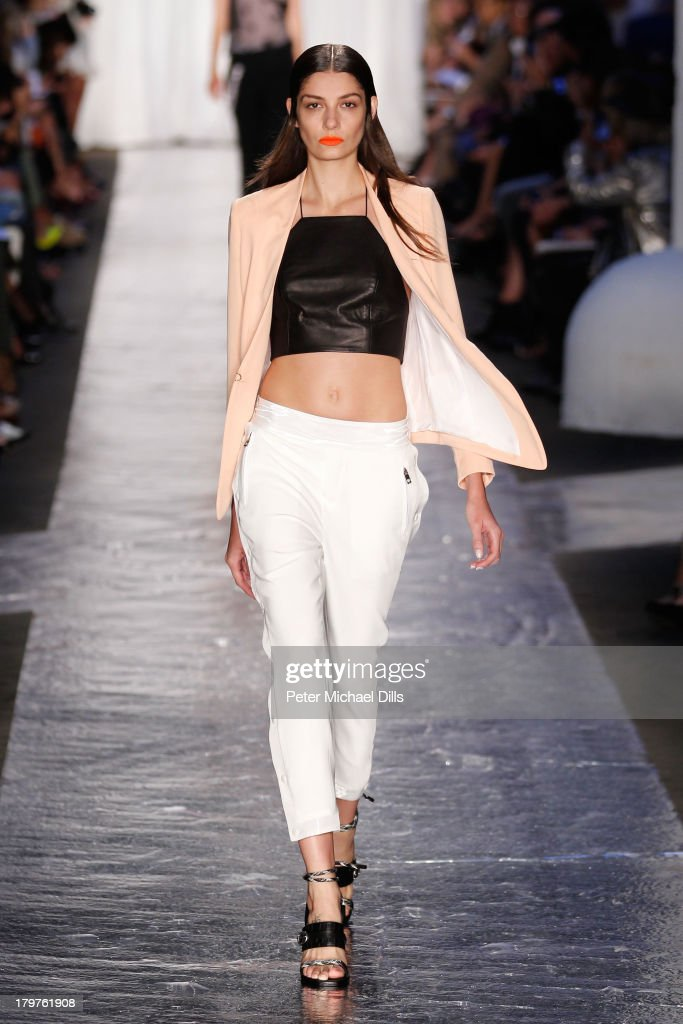 A model walks the runway at the Rag Bone Women's Collection Spring 2014 fashion show during MercedesBenz Fashion Week at Skylight at Moynihan Station...