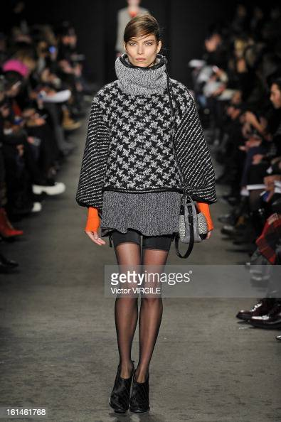 A model walks the runway at the Rag Bone Women's Ready to Wear Fall/Winter 20132014 fashion show during MercedesBenz Fashion Week at Skylight Studios...