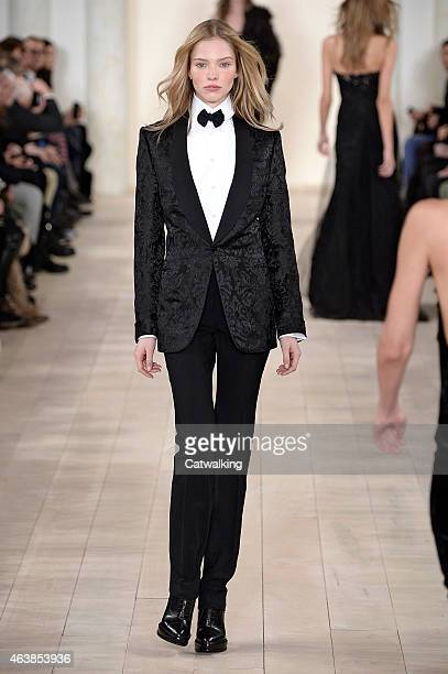 A model walks the runway at the Ralph Lauren Autumn Winter 2015 fashion show during New York Fashion Week on February 19 2015 in New York United...