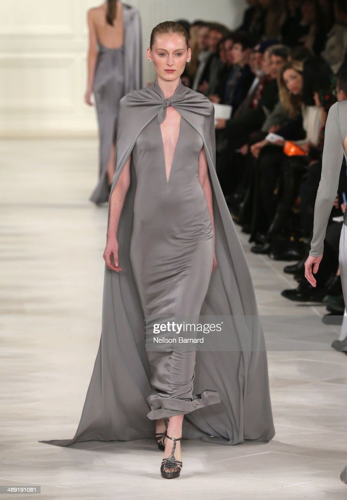 A model walks the runway at the Ralph Lauren fashion show during Mercedes-Benz Fashion Week Fall 2014 at St. John Center Studios on February 13, 2014 in New York City.