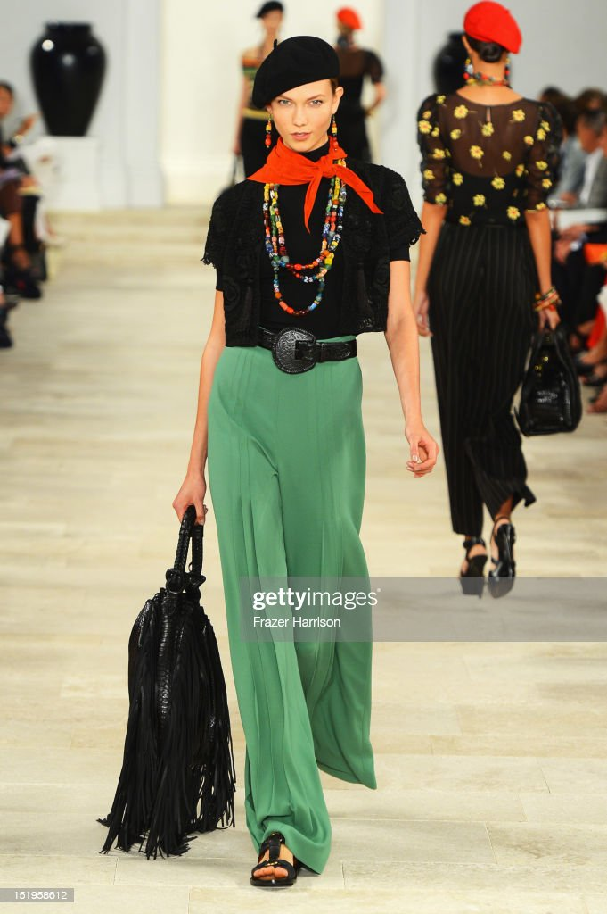 A model walks the runway at the Ralph Lauren Spring 2013 fashion show during Mercedes-Benz Fashion Week on September 13, 2012 in New York City.