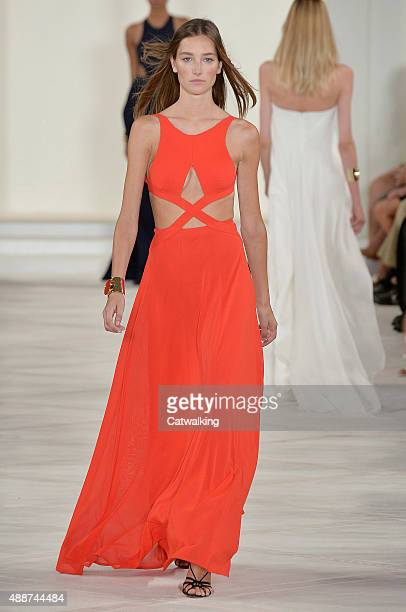 A model walks the runway at the Ralph Lauren Spring Summer 2016 fashion show during New York Fashion Week on September 17 2015 in New York United...