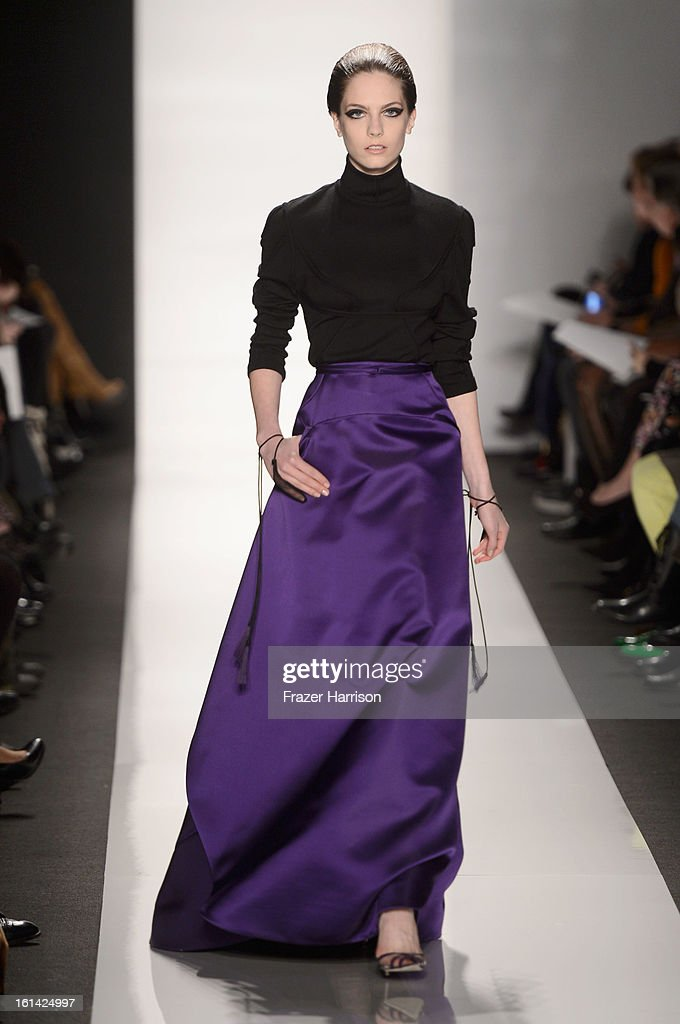 A model walks the runway at the Ralph Rucci Fall 2013 fashion show during Mercedes-Benz Fashion Week at at Lincoln Center on February 10, 2013 in New York City.