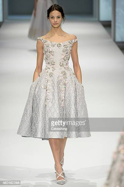 A model walks the runway at the Ralph Russo Spring Summer 2015 fashion show during Paris Haute Couture Fashion Week on January 29 2015 in Paris France