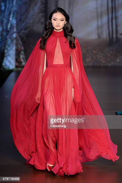 A model walks the runway at the RalphRusso Autumn Winter 2015 fashion show during Paris Haute Couture Fashion Week on July 6 2015 in Paris France