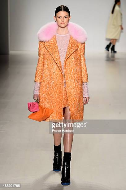 A model walks the runway at the RANFAN fashion show during MercedesBenz Fashion Week Fall/Winter 2015 at The Salon at Lincoln Center on February 15...