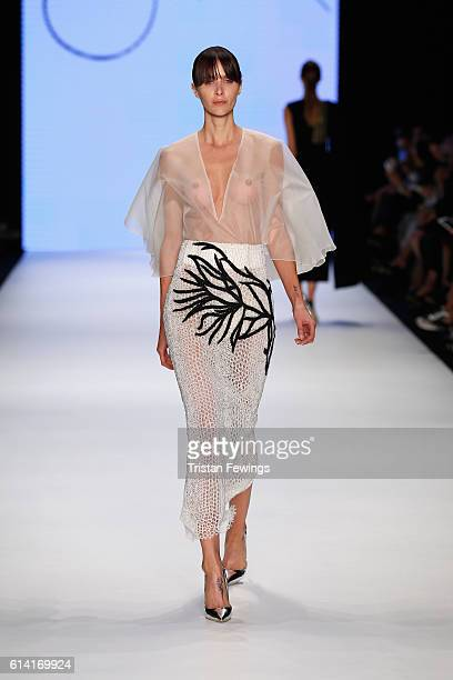 A model walks the runway at the Rasit Bagzibagli show during MercedesBenz Fashion Week Istanbul at Zorlu Center on October 12 2016 in Istanbul Turkey