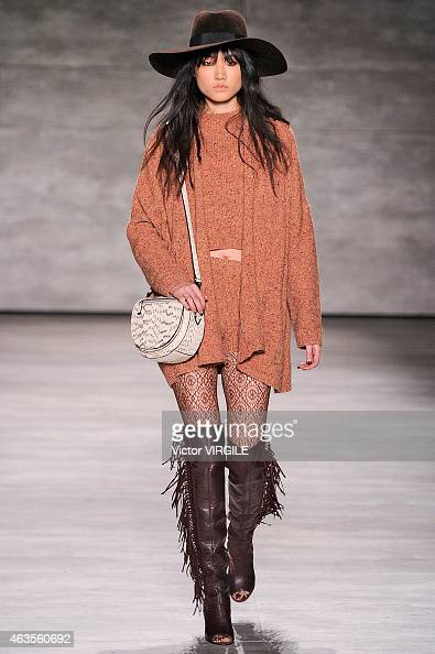 A model walks the runway at the Rebecca Minkoff fashion show with TRESemme during MercedesBenz Fashion Week Fall 2015 at The Pavilion at Lincoln...