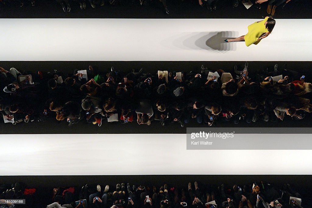 A model walks the runway at the Rebecca Minkoff show during Fall 2013 Mercedes-Benz Fashion Week at Lincoln Center for the Performing Arts on February 8, 2013 in New York City.