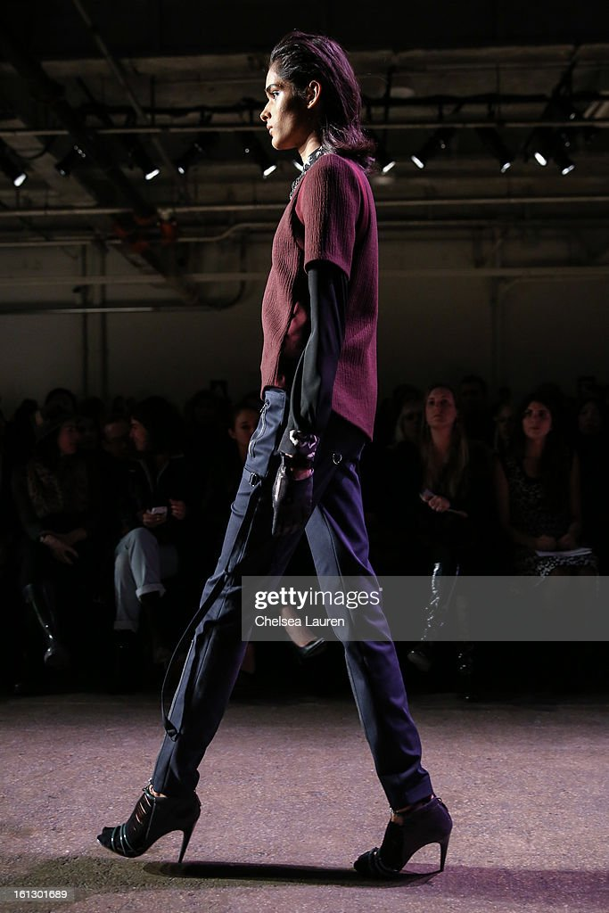 A model walks the runway at the Rebecca Taylor fall 2013 fashion show during Mercedes-Benz Fashion Week at Highline Stages on February 9, 2013 in New York City.
