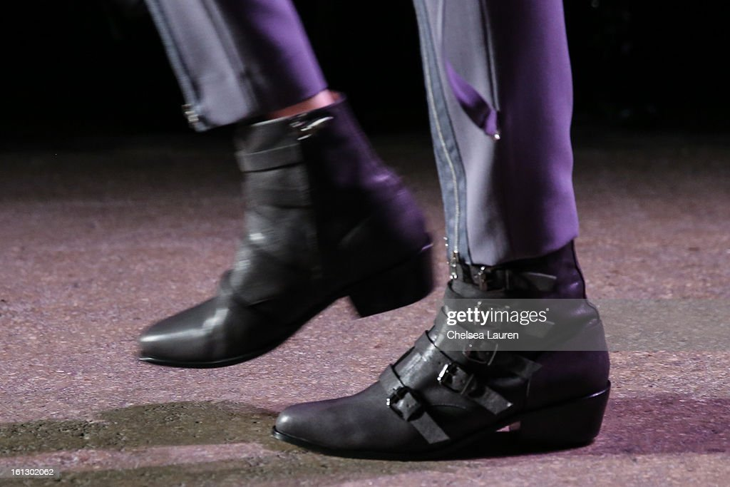 A model (shoe detail) walks the runway at the Rebecca Taylor fall 2013 fashion show during Mercedes-Benz Fashion Week at Highline Stages on February 9, 2013 in New York City.