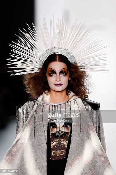 A model walks the runway at the Rebekka Ruetz show during the MercedesBenz Fashion Week Berlin Autumn/Winter 2015/16 at Brandenburg Gate on January...