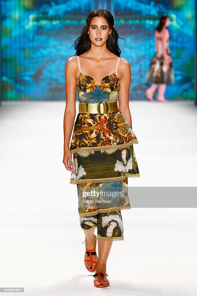 A model walks the runway at the Rebekka Ruetz show during the Mercedes-Benz Fashion Week Berlin Spring/Summer 2017 at Erika Hess Eisstadion on June 29, 2016 in Berlin, Germany.